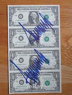 Président Unique En Son Genre, Donald Trump A Signé 2x Uncut Bills D'un Dollar En Dollars Par Feuille