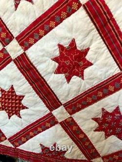 Qualité Du Musée Rare One-of-a-kind 1830-60 Crèche Étoile Applique Quilt