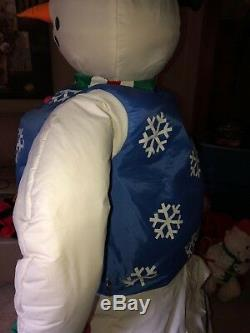 Rare Htf Lifesize Gemmy Snowman 6 Pieds De Haut Sold Out One Of A Kind De Noël