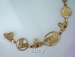 Rare Longaberger Vintage One Of A Kind 14k Solid Gold Award Basket Bracelet