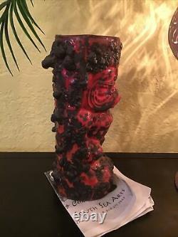 Rare Mers Du Sud Gecko Tiki Mug One Of A Kind Fat Lava Red Bowana Hand Signé