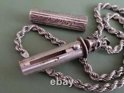 Rare One Of A Kind Antique Silver Memento Mori Crâne Pendentif Collier Bouteille