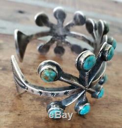 Rare One Of A Kind Bracelet En Argent Avec Turquoise Et Fonte De Sable Par Jock Favor