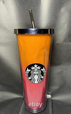 Rare Starbucks Pink & Orange 2014 One-of-a-kind 24 Oz Tumbler