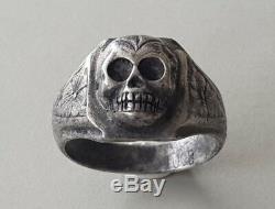 Rare Un Du Type Antique Victorien Allemand Avec Bague Memento Mori Skull Silver