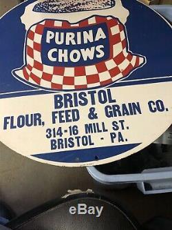 Rare Vintage Purina Chow Publicité Signe Bristol, Pa One Of A Kind En Porcelaine