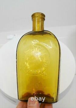 Rare Yellow Elizabeth, New Jersey Strap Sided Whiskey Flask One Of A Kind