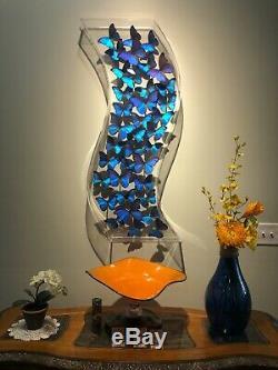 Real 3-d Encadré Papillon Art One-of-a-kind Acrylique Géant Morpho