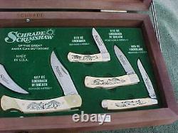 Schrade Matching 0000 Numéro De Série Scrimshaw Knife Collection 1990 One Of Kind