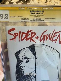 Spider-gwen #1 Cgc 9.8 Signé/esquissé Par Adam Hughes! Variante Unique En Son Genre