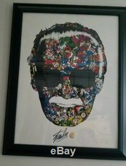 Stan Lee Signé Homme Aux Multiples Visages (variante Colorée) Par Raid71 (unique En Son Genre)