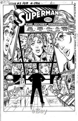 Superman # 2 Splash Page Htf Art Original John Byrne Unique En Son Genre