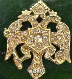 Taberière En Néphrite, Or Et Diamants