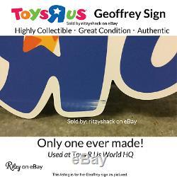 Toys R Us Geoffrey The Giraffe Rare Signe Du Magasin Avec Un Logo D'entreprise Tru