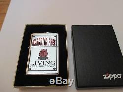 Très Rare Briquet Prix Zippo Free Living Narcotic Free De La Nfl, Circa 1998, Unique En Son Genre