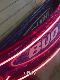 Tres Rare Bud Néon Bière Enseigne 42x10x12 Arc Forme One Of A Kind Signe