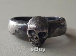 Un Argent Antique Anneau Première Guerre Mondiale Militaire Allemand Argent Antique Antique Memento Mori Crane Ring