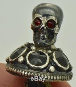 Un Bout D'un Type Important Poison Victorien Crâne & Serpents Sculpté Bouteille D'agate