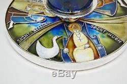 + Un D'un Argent Kind Sterling Calice Avec Emaux De Saints + (cu571)