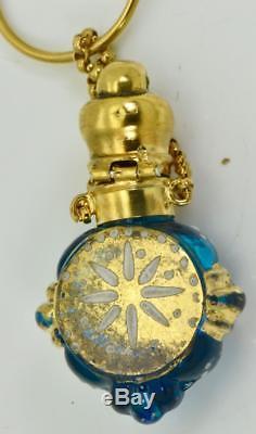 Un D'un Type Important Antique Bouteille De Crâne Crane En Verre De Murano Bleu Victorien Antique