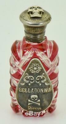 Un D'une Sorte Antique Victorienne Cristal Cranberry Rouge Et Argent Bouteille De Poison