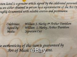 Un D'une Sorte Certifié William S Harley Davidson & Arthur Signé Création