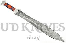 Un D'une Sorte D'acier De Damas Personnalisé Tang À Double Bord D'épée De Couteau Dagger