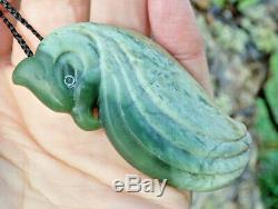 Un De Genre Niki Nepia Nz Pounamu Greenstone Fleur Pendentif Jade Maori Manu Oiseau