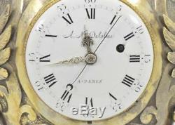 Un Dieu De Gens Gothique Français En Argent Doré Mémento Mori Crâne & Grotesque Fusee Clock