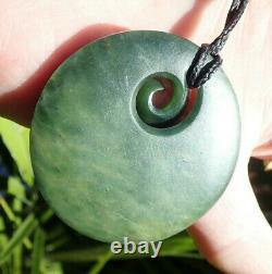 Un Du Genre Gem Nz Pounamu Greenstone Nephrite Flower Jade Maori Koru Disk
