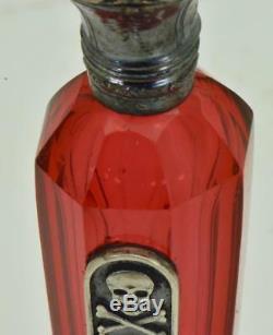 Un Of A Genre Antique Bouteille Victorienne De Canneberges Rouge En Cristal Et Argent Poison C1850