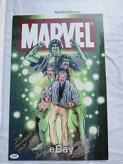 Un Poste De Marvel Signé Hulk 11x17 Poster Stan Lee Et Lou Ferrigno Psa / Adn