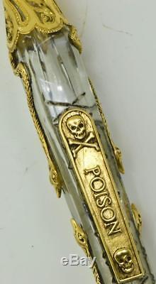 Une Bouteille De Poison En Cristal Victorien, En Or 18k Et Diamants Calotte. Unique