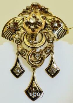 Une Broche D'or 18 Carats, Émail Et Diamants Pour L'impératrice Sisi D'autriche. Encadré