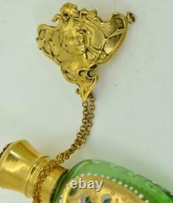 Une Des Sortes Antique Art-nouveau Impérial Bouteille De Parfum En Verre Peint Russe