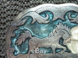Unicorn Moon Boucle De Ceinture! Ancien! Rare! Fait Main! Un D'une Sorte Etats-unis! 1980