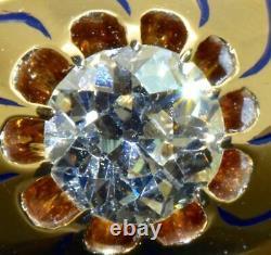 Unique D'une Sorte Antique Impériale Russe Faberge 14k Or, Émail &1ct Bague De Diamant