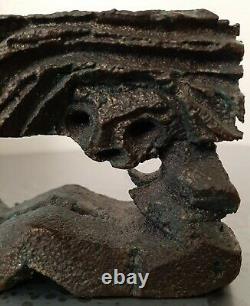 Unique Paolo Soleri L'un D'une Sorte Sculpture De Bronze Assis Porte-bougies Nue