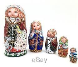 Unique Russian Nesting Doll Peint À La Main À L'aquarelle Un Des Jeu Genre Babushka