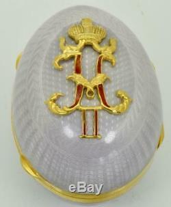Unique Tabouret À Oeuf De Pâques Fabergé De Russie, Impérial Russe, Argent, Or Et Émail