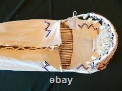 Véritable Vintage Fait Main Paiute Beaded Cradle Board One Of A Kind Nouveau
