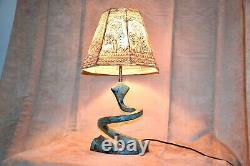 Vintage Art Deco Nouveau Lampe Serpent Coil Peint À La Main Shade Un-of-a-kind