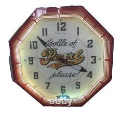 Vintage Neon Clock Pearl Beer 18 Fonctionne Comme Le Premier Jour. Rare Unique En Son Genre