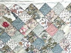 Vintage Un D'une Sorte King Taille 92x102 Patchwork Fait Main Quilt