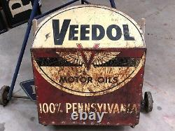 Vintage Veedol Signe Motor Oil Morter MIX Container Gas Oil Old One Of A Kind