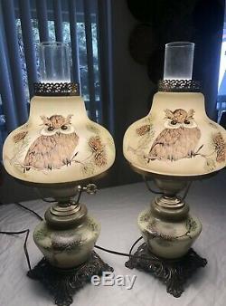 Vtg Gwtw Ouragan Vert Owl Raised Lampes En Laiton. One Of A Kind Peintes À La Main