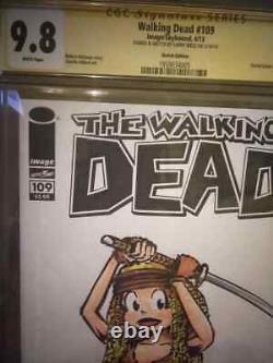 Walking Dead #109 Sketched Par Larry Welz Cherry Comme Michonne Unique En Son Genre