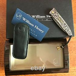 William Henry Knife B30 One Of A Kind Hand Gravé 24k Gold Inlays Retail 6700 $