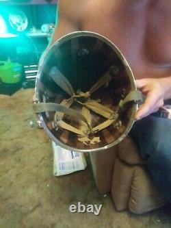 Wwii Ww2 Us Second Indianhead Army Helmet Avec Msa Liner. Très Rare Un D'un Genre